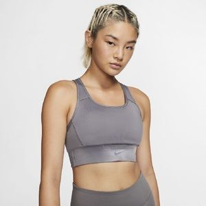Nike swoosh pocket sports bra grey mesh small